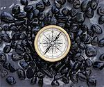 Compass and Black Stones    Stock Photo - Premium Rights-Managed, Artist: David Muir, Code: 700-00618004