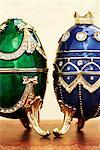 Green and Blue Faberge Style Eggs