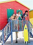 Friends at Beach Hut    Stock Photo - Premium Rights-Managed, Artist: Masterfile, Code: 700-00623335