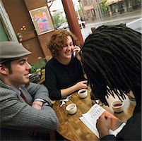 Three Young People Having Tea At A Cafe    Stock Photo - Premium Rights-Managednull, Code: 700-00634100