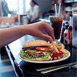 Hamburger at Diner    Stock Photo - Premium Rights-Managed, Artist: Edward Pond, Code: 700-00635846