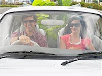 Couple in Car, Plants In Backseat    Stock Photo - Premium Rights-Managednull, Code: 700-00644021