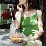 Woman at Cafe, With Italian Pastry    Stock Photo - Premium Rights-Managed, Artist: Edward Pond, Code: 700-00644192