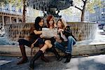 Women Looking at Map by Fountain, Paris, France    Stock Photo - Premium Rights-Managed, Artist: Mark Leibowitz, Code: 700-00650013