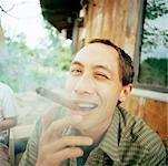 Portrait of Man Smoking Cigar    Stock Photo - Premium Rights-Managed, Artist: Derek Shapton, Code: 700-00661254