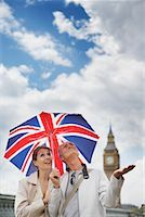 Tourists With Union Jack Umbrella Checking For Rain, London, England    Stock Photo - Premium Rights-Managednull, Code: 700-00680919