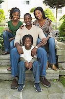 Family Sitting on Steps In Front Of House    Stock Photo - Premium Rights-Managednull, Code: 700-00681536