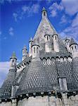 France, Pays de la Loire, Fontevraud l'Abbaye, kitchen chimneys of the abbey