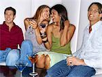 two young couples sitting in a bar Stock Photo - Premium Royalty-Free, Artist: TSUYOI, Code: 618-00690501
