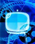 Television Screen and Film Reels    Stock Photo - Premium Rights-Managed, Artist: Ken Davies, Code: 700-00695637