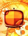 Television Screen and Film Reels    Stock Photo - Premium Rights-Managed, Artist: Ken Davies, Code: 700-00695638