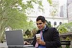 Businessman Using Laptop Computer Bryant Park, New York, New York, USA
