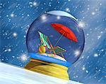 Snow Globe With Beach Chair And Umbrella Stock Photo - Premium Rights-Managed, Artist: Guy Grenier, Code: 700-00695889