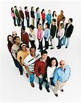 Studio Shot of a Large Mixed Age, Multiethnic Group of Men and Women Waiting in Line, Looking up at the Camera and Smiling Stock Photo - Premium Royalty-Free, Artist: andresr, Code: 613-00708737