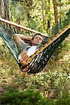 Man Lying in Hammock    Stock Photo - Premium Rights-Managed, Artist: Jerzyworks, Code: 700-00747971
