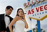 Bride and Groom by Sign, Las Vegas, Nevada, USA    Stock Photo - Premium Rights-Managed, Artist: Mark Leibowitz, Code: 700-00748269