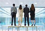 Back View of Business People Standing on Boardroom Table