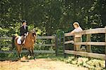 Mother watching daughter ride horse in corral Stock Photo - Premium Royalty-Free, Artist: Cultura RM, Code: 604-00754340