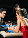 Croupier and Players At Card Table