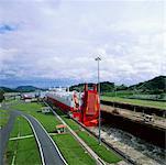 Cargo Ship in Miraflores Locks, Panama Canal, Panama