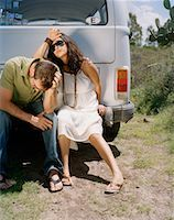 stalled car - Couple Sitting on Back of Van, Looking Upset    Stock Photo - Premium Rights-Managednull, Code: 700-00796194