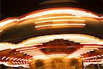 Low angle view of a carousel at night, California, USA