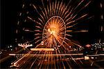 Ferris wheel lit up at night, Navy Pier Park, Chicago, Illinois USA