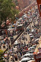 High angle view of traffic on the streets, Jaipur, Rajasthan, India Stock Photo - Premium Royalty-Freenull, Code: 625-00806447