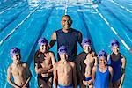 Coach and Students by Swimming Pool    Stock Photo - Premium Royalty-Free, Artist: Masterfile, Code: 600-00814571