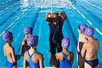 Coach and Students by Swimming Pool    Stock Photo - Premium Royalty-Free, Artist: Masterfile, Code: 600-00814573