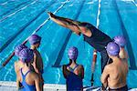 Coach and Students by Swimming Pool    Stock Photo - Premium Royalty-Free, Artist: Masterfile, Code: 600-00814574