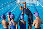Coach and Students by Swimming Pool    Stock Photo - Premium Royalty-Free, Artist: Masterfile, Code: 600-00814575