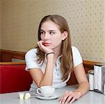 Young Woman with Coffee Cup in Diner    Stock Photo - Premium Rights-Managed, Artist: Edward Pond, Code: 700-00819396