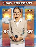 Mid adult woman presenting the weather forecast Stock Photo - Premium Royalty-Freenull, Code: 618-00832746