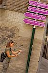 Woman Reading Map, Zaragoza, Spain    Stock Photo - Premium Rights-Managed, Artist: Mike Randolph, Code: 700-00847471
