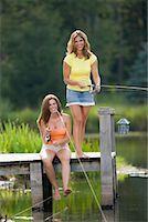 Women Fishing from Dock    Stock Photo - Premium Rights-Managednull, Code: 700-00847583