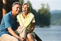Couple On Cottage Steps    Stock Photo - Premium Rights-Managednull, Code: 700-00847610