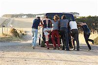 stalled car - People Pushing Stalled Van    Stock Photo - Premium Royalty-Freenull, Code: 600-00848515