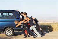 stalled car - People Pushing Stalled Van    Stock Photo - Premium Royalty-Freenull, Code: 600-00848518