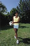Woman with Soccer Ball    Stock Photo - Premium Rights-Managed, Artist: TSUYOI, Code: 700-00848581