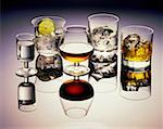 High angle view of glasses of cocktail drinks Stock Photo - Premium Royalty-Freenull, Code: 625-00849761