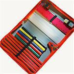 Close-up of an open pencil case Stock Photo - Premium Royalty-Free, Artist: photo division, Code: 627-00858155