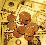 Close-up of various American dollar bills and coins Stock Photo - Premium Royalty-Free, Artist: Keate, Code: 627-00858754