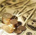 Close-up of various American dollar bills and coins Stock Photo - Premium Royalty-Free, Artist: Grant Harder, Code: 627-00858757