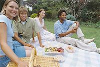 two men and two women enjoying a picnic on the grass Stock Photo - Premium Royalty-Freenull, Code: 627-00862309