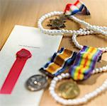 A will, jewelry and medals Stock Photo - Premium Royalty-Free, Artist: Cusp and Flirt, Code: 627-00862833