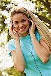 Girl Wearing Headphones    Stock Photo - Premium Rights-Managed, Artist: David Schmidt, Code: 700-00864842