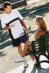 Man and Woman at Tennis Court    Stock Photo - Premium Rights-Managed, Artist: Marc Vaughn, Code: 700-00866991