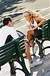 Man and Woman at Tennis Court    Stock Photo - Premium Rights-Managed, Artist: Marc Vaughn, Code: 700-00866995