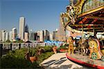 Carousel in an amusement park, Navy Pier Park, Chicago, Illinois USA